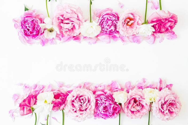 Frame of pink flowers on white background. Floral lifestyle composition. Flat lay. Frame of pink flowers on white background. Floral lifestyle composition stock photography