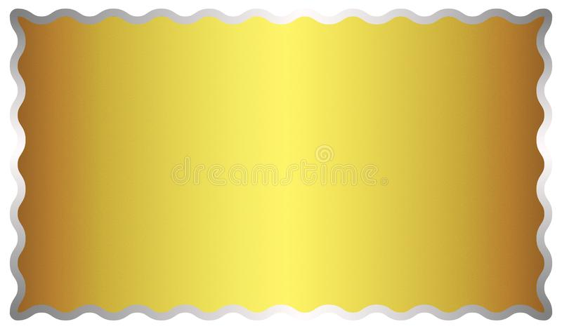 Abstract Shining Golden Metal Surface Background with A Silver Frame vector illustration