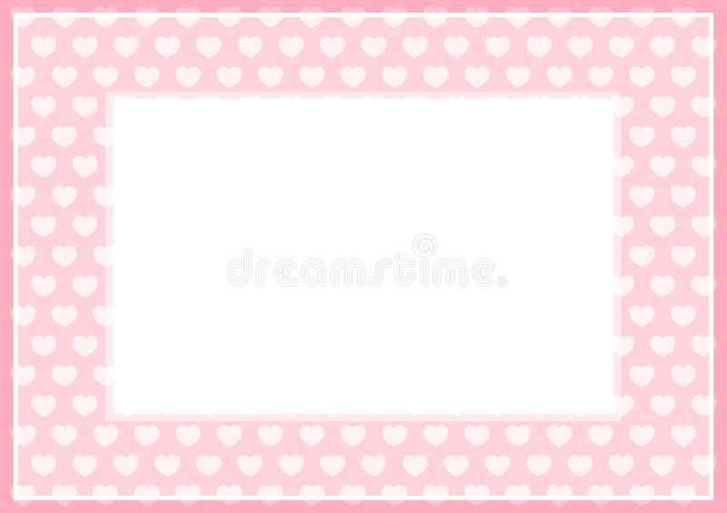 Frame of pink pastel color soft and hearts shape for banner background and copy space white paper, heart shape on pink soft, heart. The frame of pink pastel vector illustration