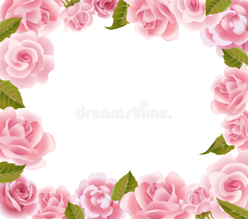 Frame from pink roses. Vector frame made of pink roses with place for your text stock illustration