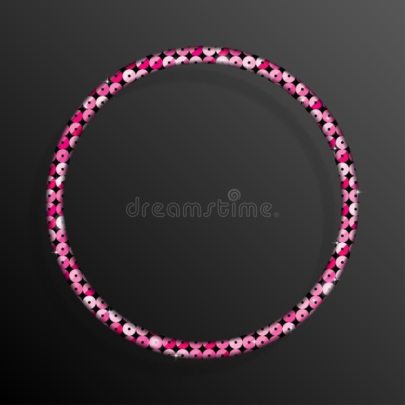 Frame Pink Sequins Circle. Glitter, sparkle. royalty free illustration