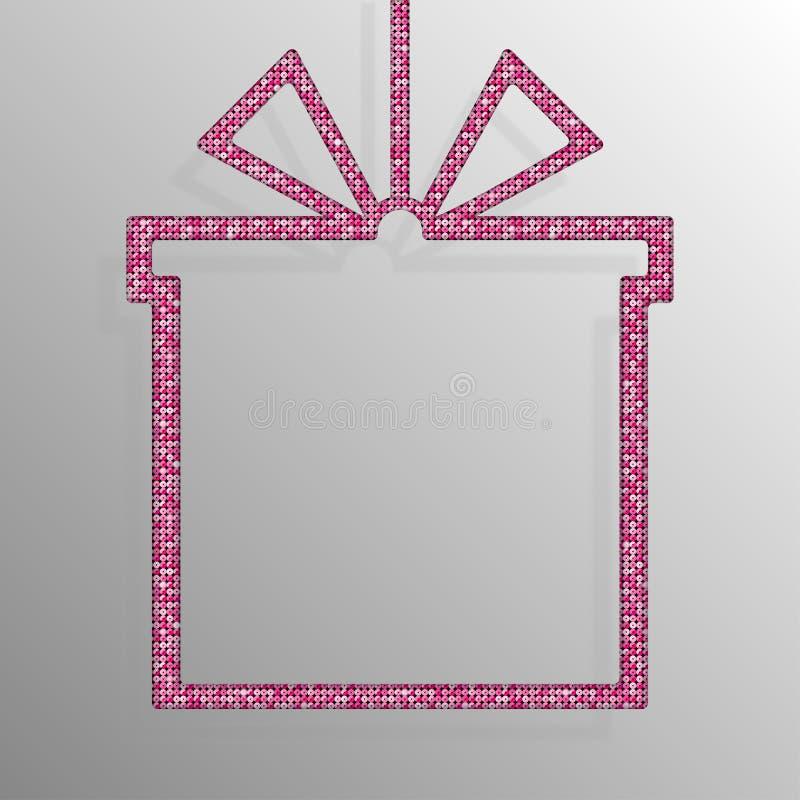 Frame Pink Sequins Gift Box. Gift. Surprise. stock illustration