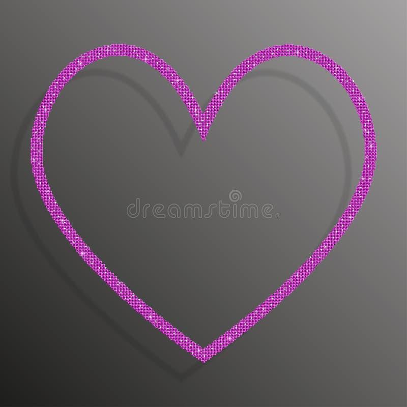 Frame Pink sequins Heart. Glitter, sparkle. royalty free illustration