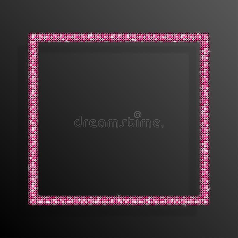 Frame Pink Sequins Square. Glitter, sparkle. royalty free illustration