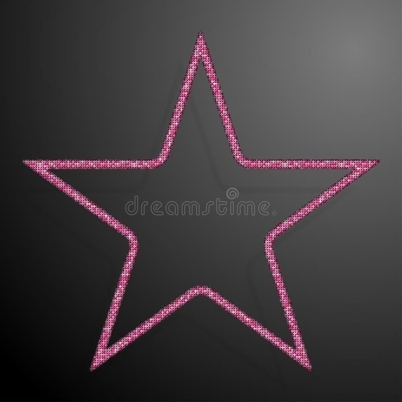 Frame Pink Sequins Star. Glitter, Sparkle. stock illustration