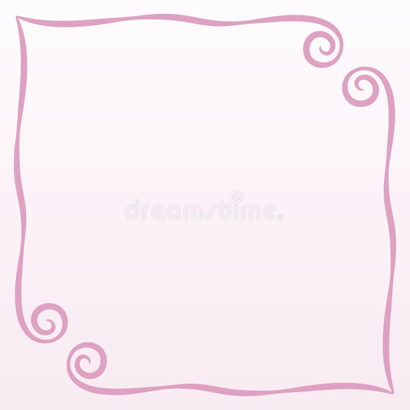Frame pink simple curls vector illustration postcard page background record square on a pale pink background empty space for sayin stock illustration