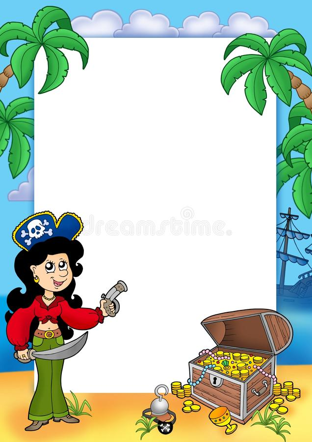 Download Frame With Pirate Girl And Treasure 1 Stock Illustration - Image: 11528830