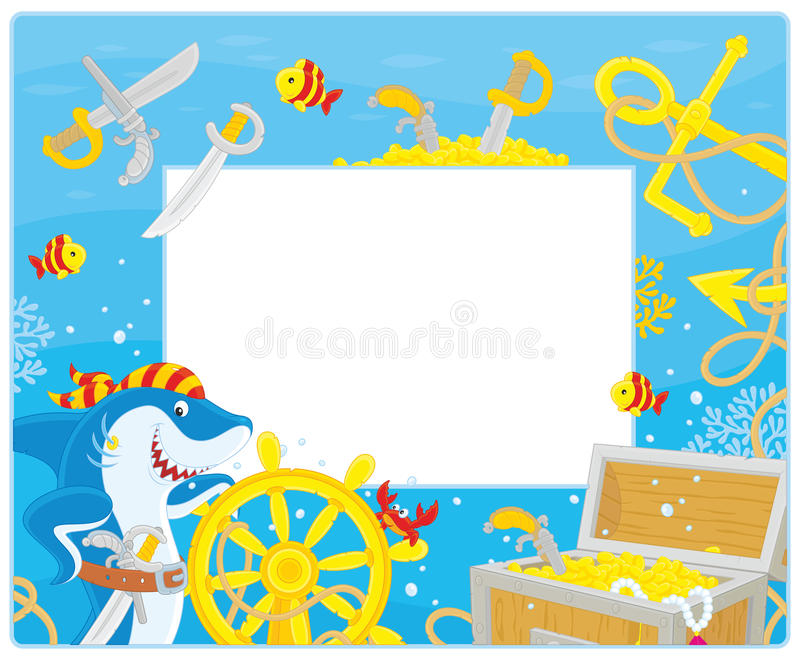 Frame with a pirate shark stock illustration