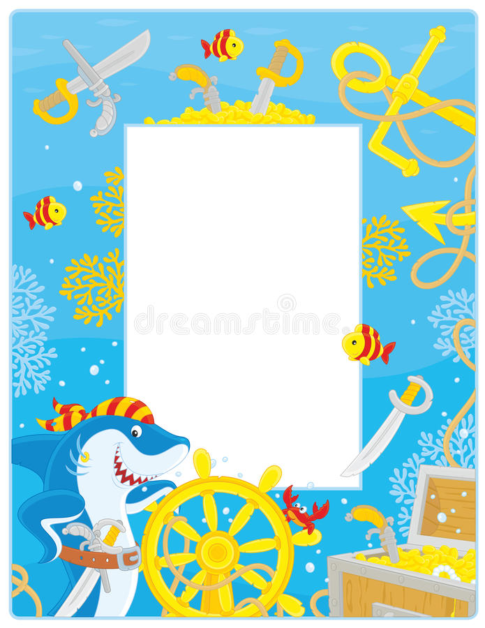 Frame with a pirate shark stock vector. Illustration of freebooter ...