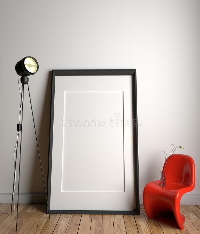 Frame and plastic red chair and lamp in wooden floor on empty white wall background. 3D rendering stock illustration