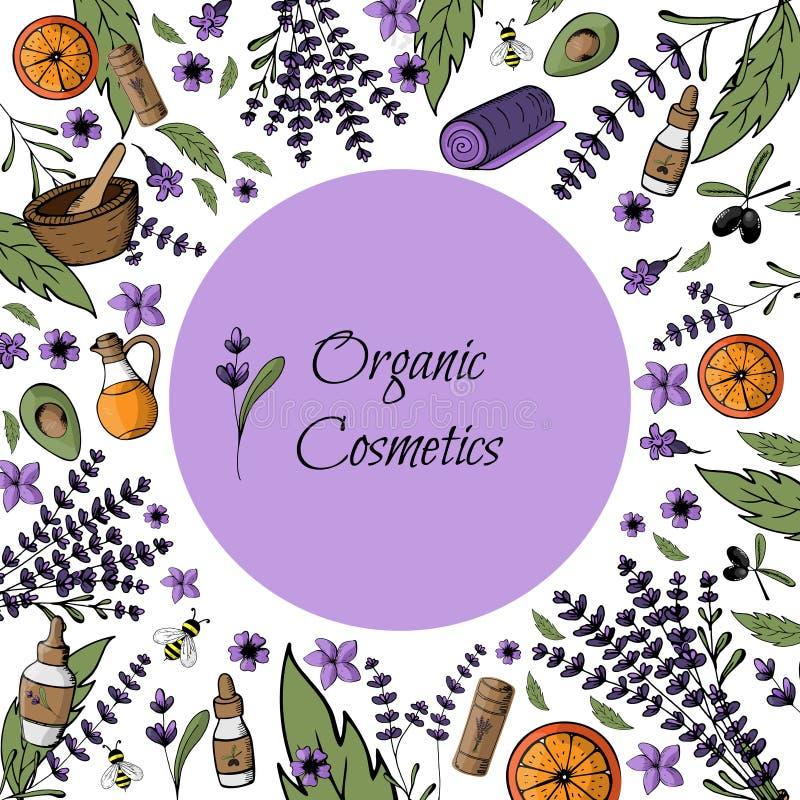Frame, postcard, mockup natural, organic bio cosmetics. Hand pa stock illustration
