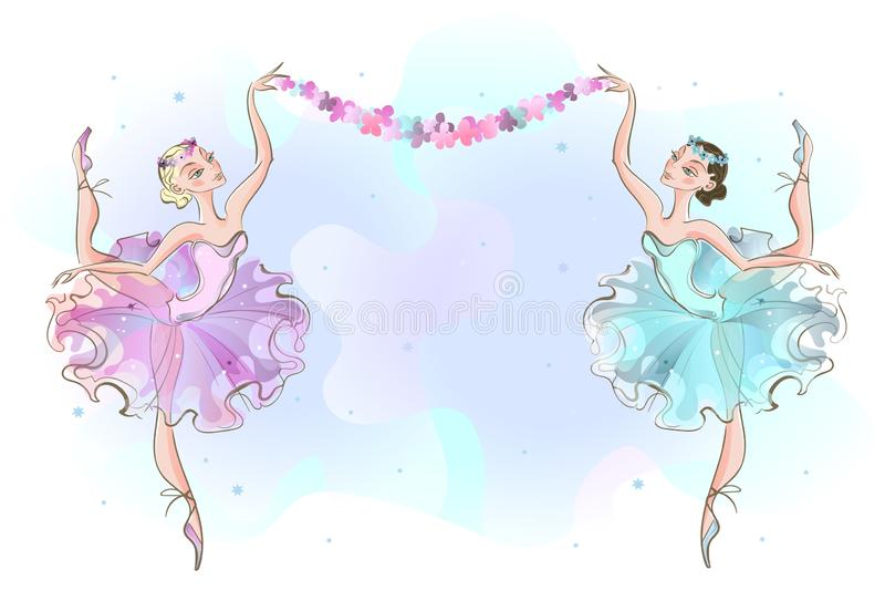 Frame postcard with two ballerinas dancers. Vector vector illustration