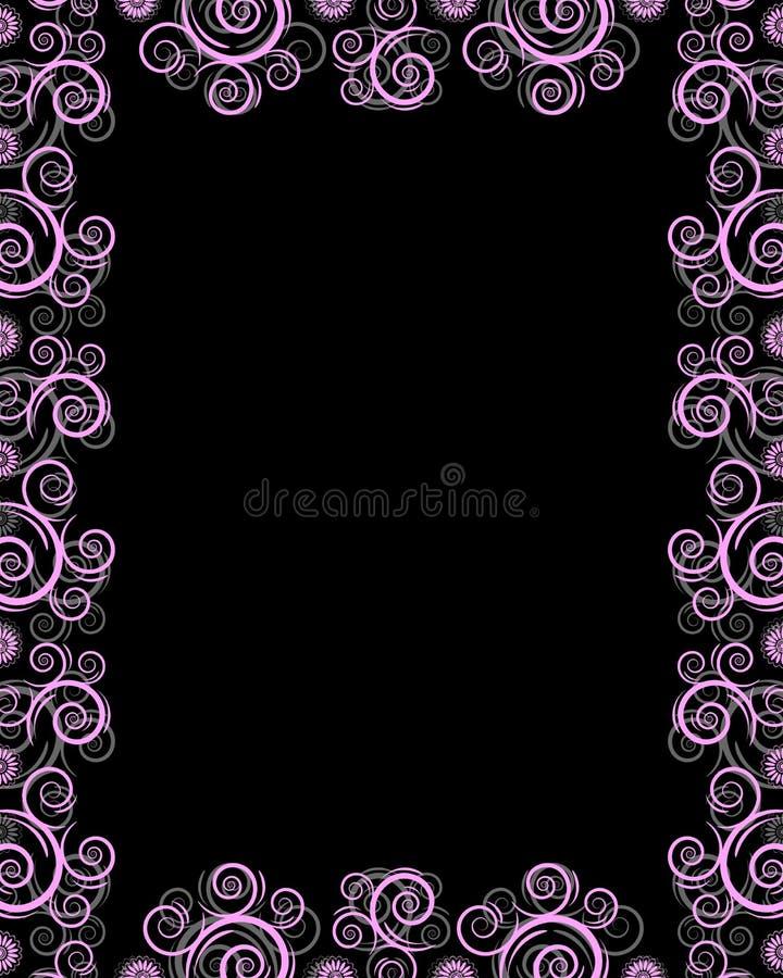 Frame preto com twirls ilustração do vetor