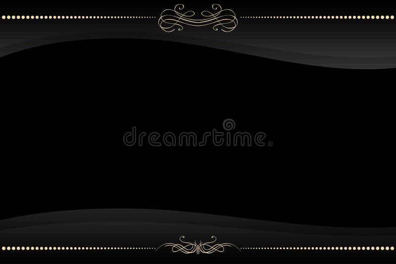 Frame preto do vetor com teste padrão dourado ilustração royalty free