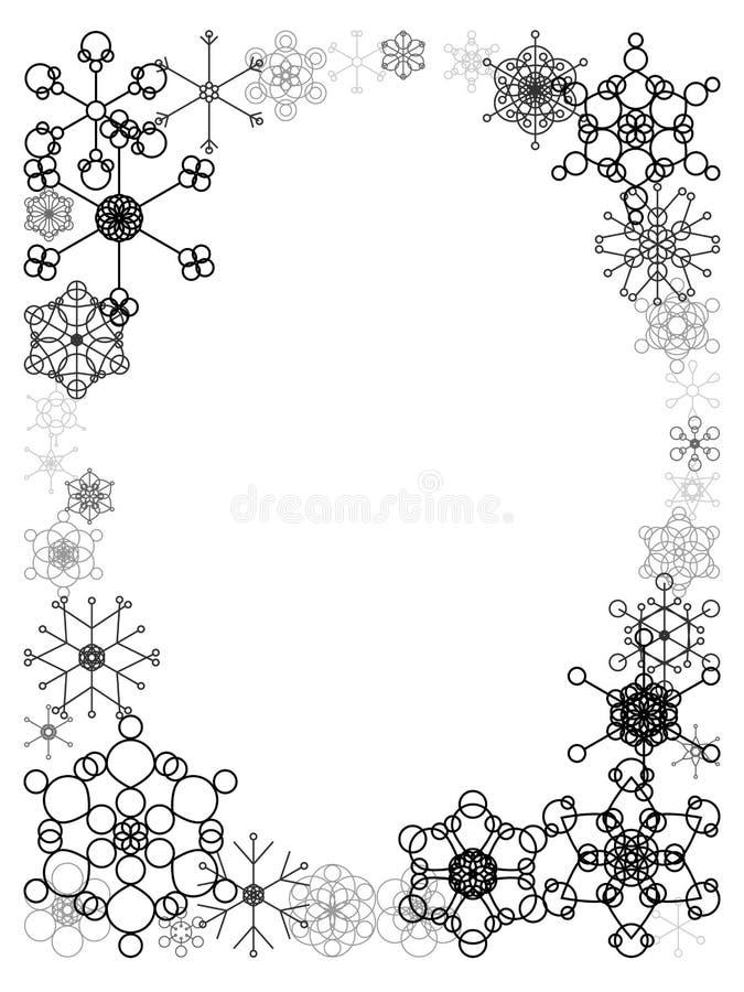 Frame preto e branco da neve ilustração do vetor