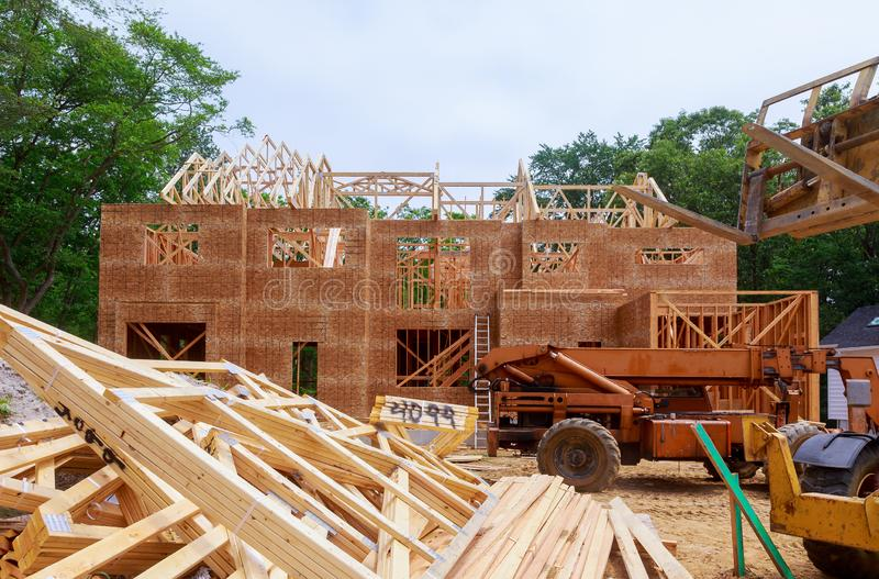 House timber frame for a progressing house a new development timber. Frame for a progressing house building frame structure on a new development timber stock photos