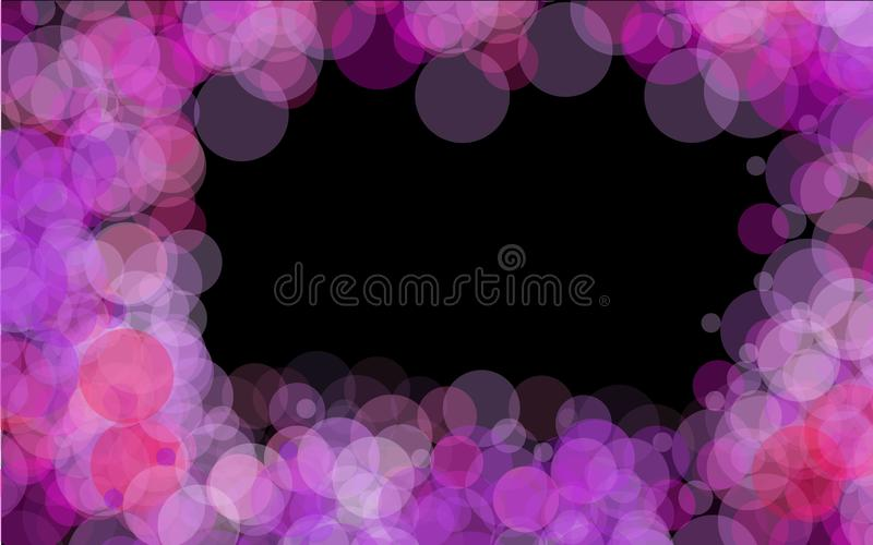 frame of purple bright transparent abstract shiny beautiful light spots with a bokeh effect with glare of light located around on vector illustration