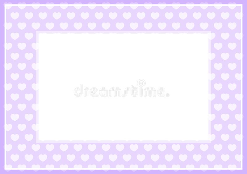 Frame of purple pastel color soft and hearts shape for banner background and copy space white paper, heart shape purple soft. The frame of purple pastel color royalty free illustration