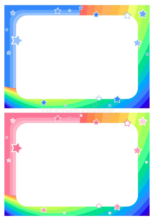 Frame with rainbow, sky and stars in cartoon style background for children`s stock illustration