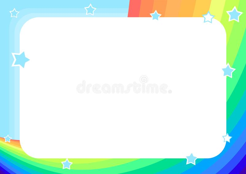 frame with rainbow, sky and stars stock illustration