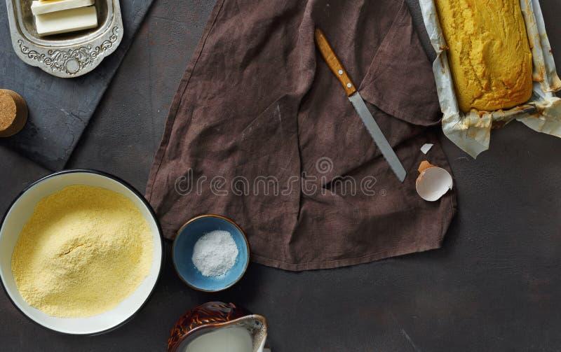 Frame raw ingredients cooking corn bread dark background top vie stock photos