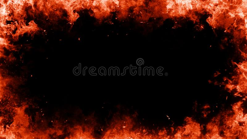 Frame of real fire flames burn motion smpke on isolated black background. Smoke fire fog frame border on isolated background for text or space royalty free illustration