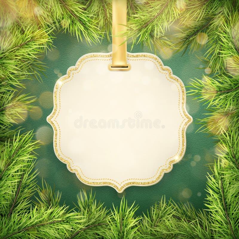 Frame realistico dettagliato di Natale con lo spazio dell'etichetta e dell'abete per testo ENV 10 illustrazione di stock