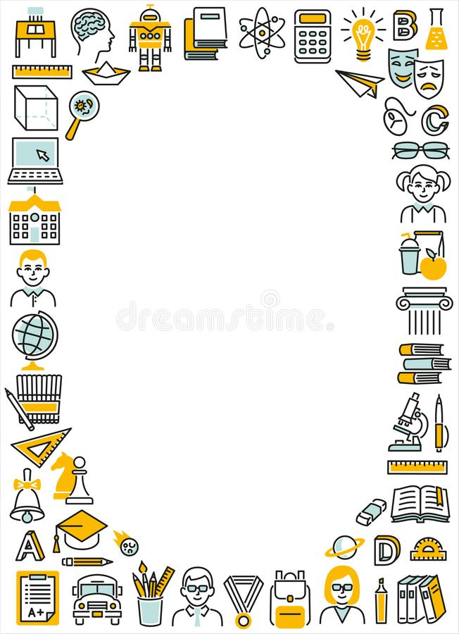 Frame rectangle vertical school education color icons stock images