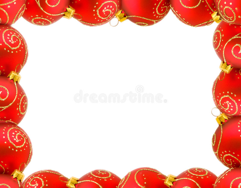 Frame of red christmas balls stock photography