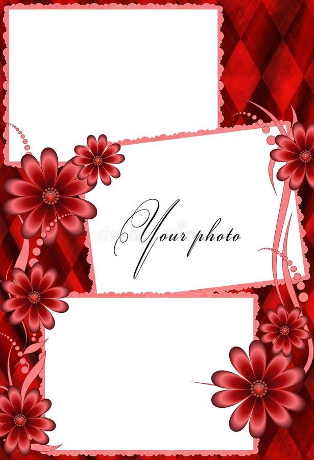 Download Frame red with flowers stock illustration. Illustration of modern - 3359070