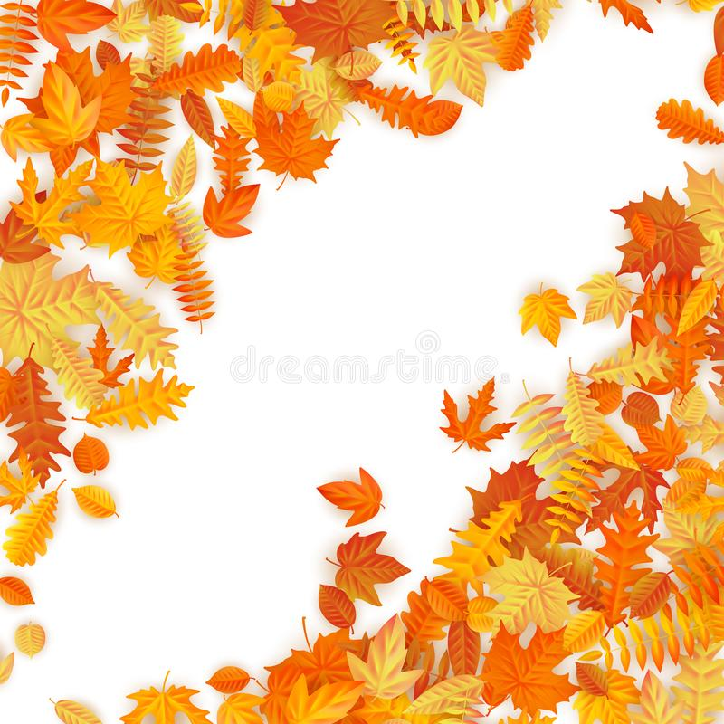 Frame with red, orange, brown and yellow falling autumn leaves. EPS 10 vector illustration