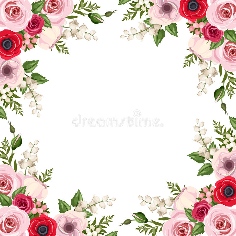 Frame with red and pink roses, lisianthus and anemone flowers and lily of the valley. Vector. Vector frame with red and pink roses, lisianthus and anemone royalty free illustration