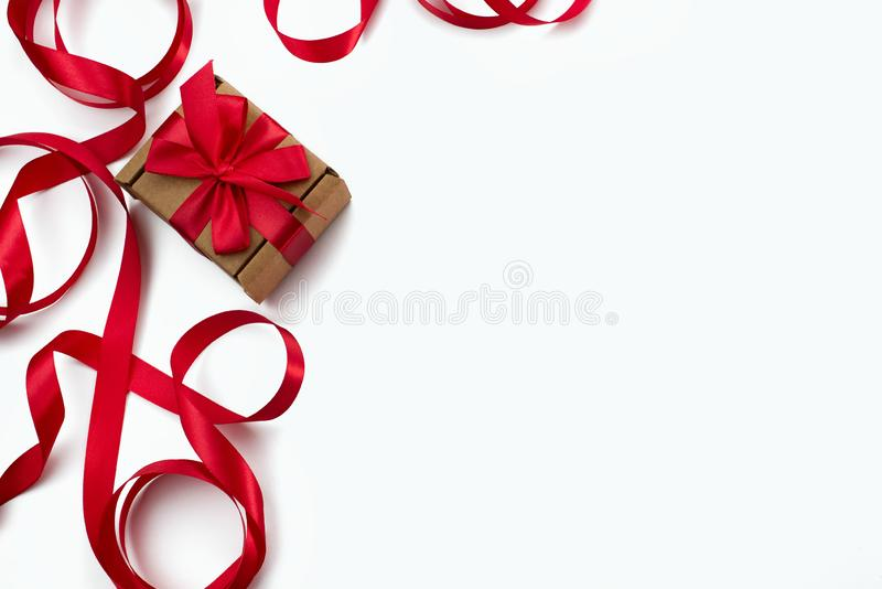 Frame of red ribbon heart white background gift Concept Valentine& x27;s day, women& x27;s day, mother& x27;s day royalty free stock photography