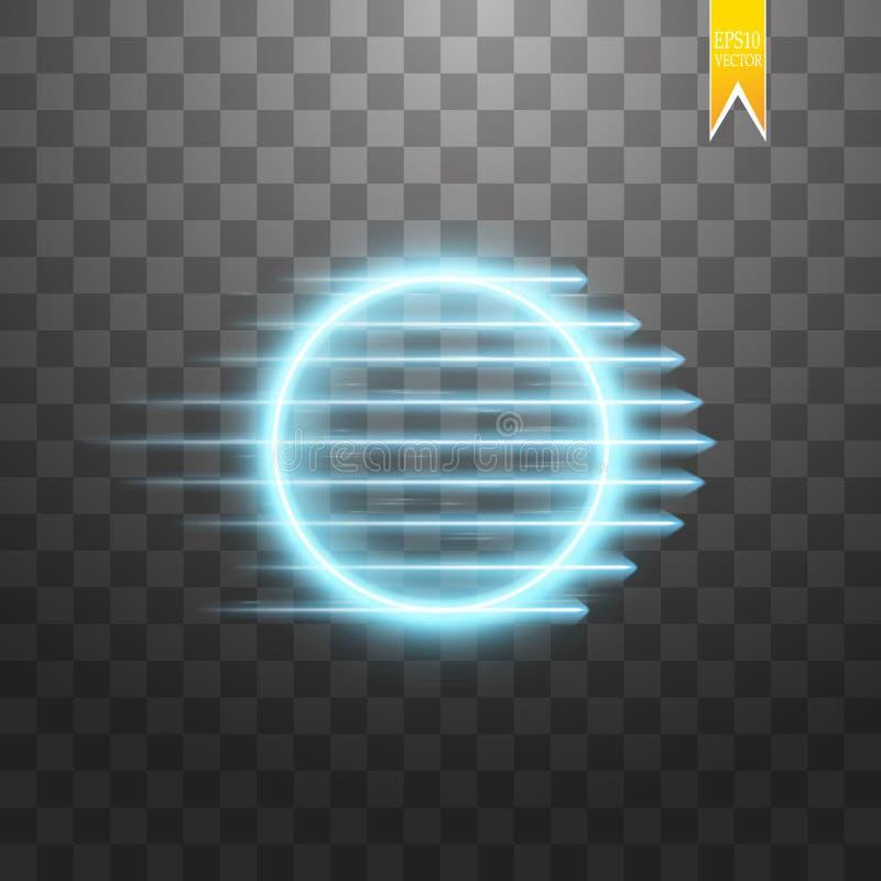 Frame redondo azul Bandeira de brilho do círculo Isolado no fundo transparente preto Ilustração do vetor ilustração do vetor