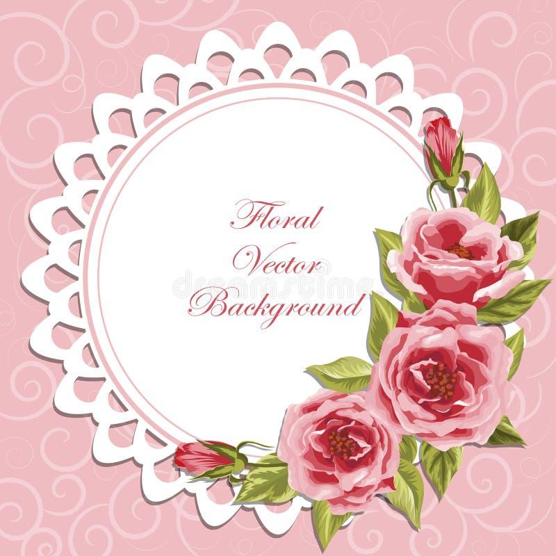 Frame redondo com rosas ilustração do vetor