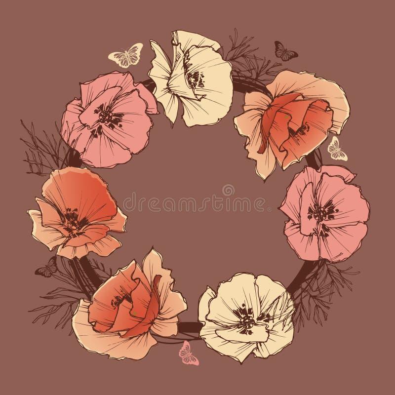 Frame redondo da flor ilustração stock