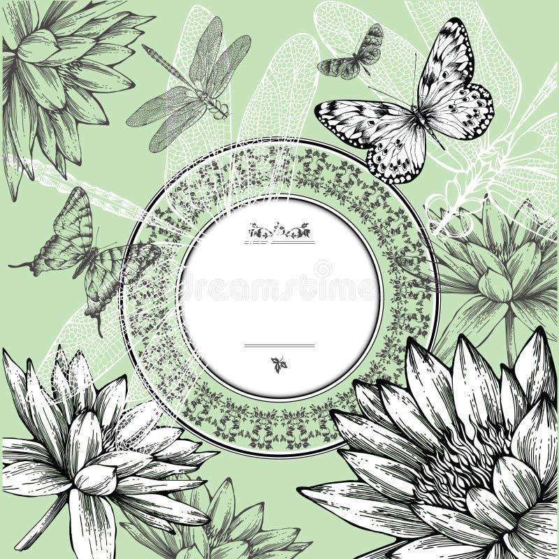 Frame redondo do vintage com lírios de água, borboletas ilustração stock