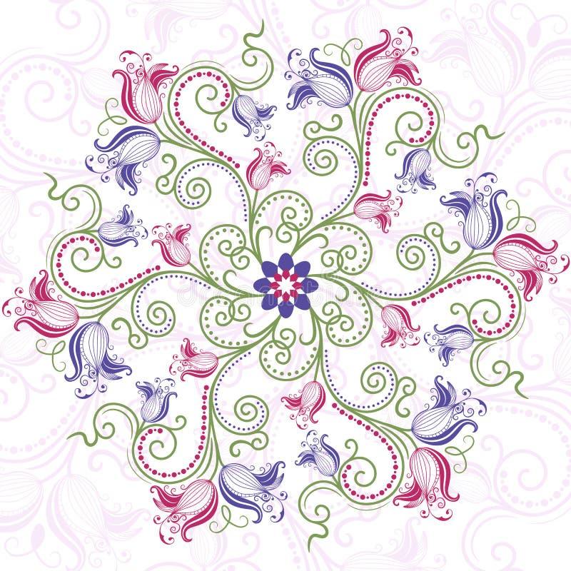 Frame redondo floral colorido ilustração stock