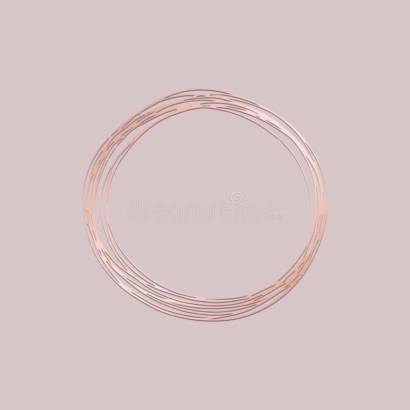 Frame redondo Ilustração do vetor com imitação do ouro cor-de-rosa Desenho da mão para o projeto ilustração stock