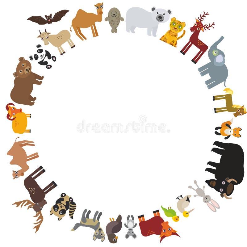 Frame redondo molde animal do cartão urso polar das cabras da morsa do lobo-marinho da perdiz do camelo do cavalo dos alces do lo ilustração stock