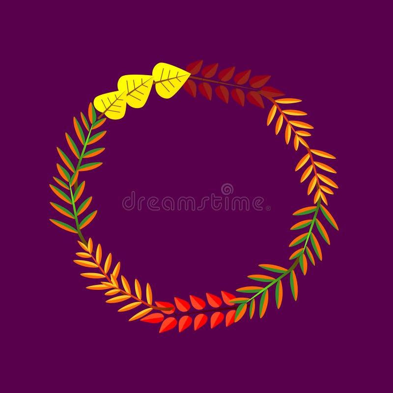Frame redondo outonal Grinalda das folhas de outono Fundo com as folhas de outono tiradas m?o Queda das folhas ilustração royalty free