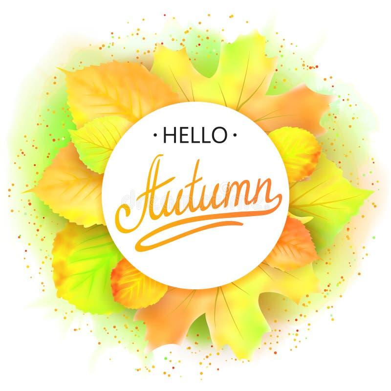Frame redondo outonal Grinalda das folhas de outono Fundo com bonito Caia Elementos do projeto Vetor ilustração stock