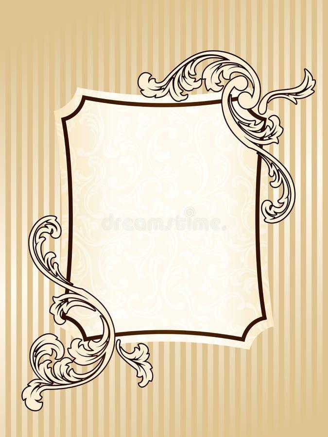 Frame retangular elegante do sepia do vintage ilustração royalty free