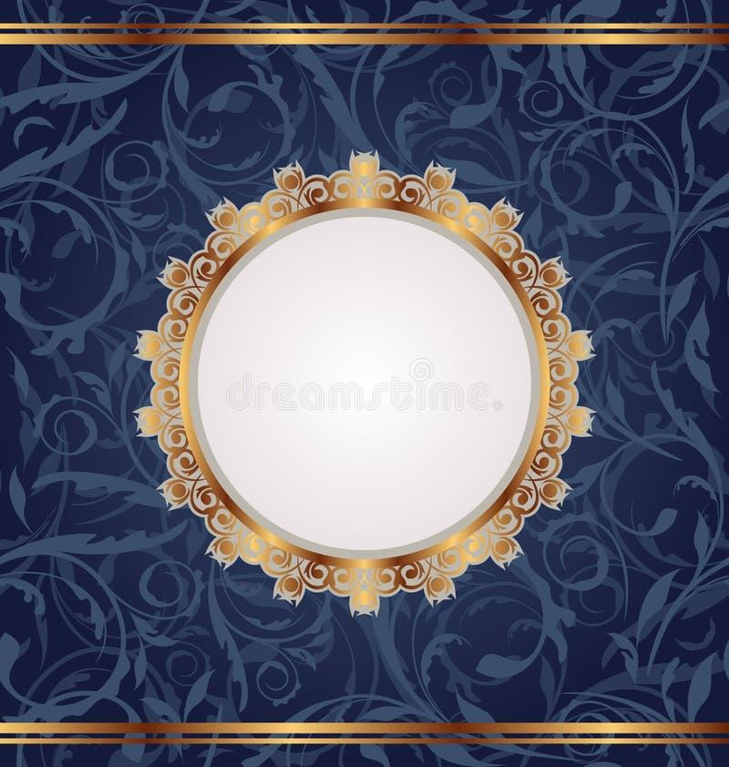 Frame retro dourado, textura floral sem emenda ilustração stock