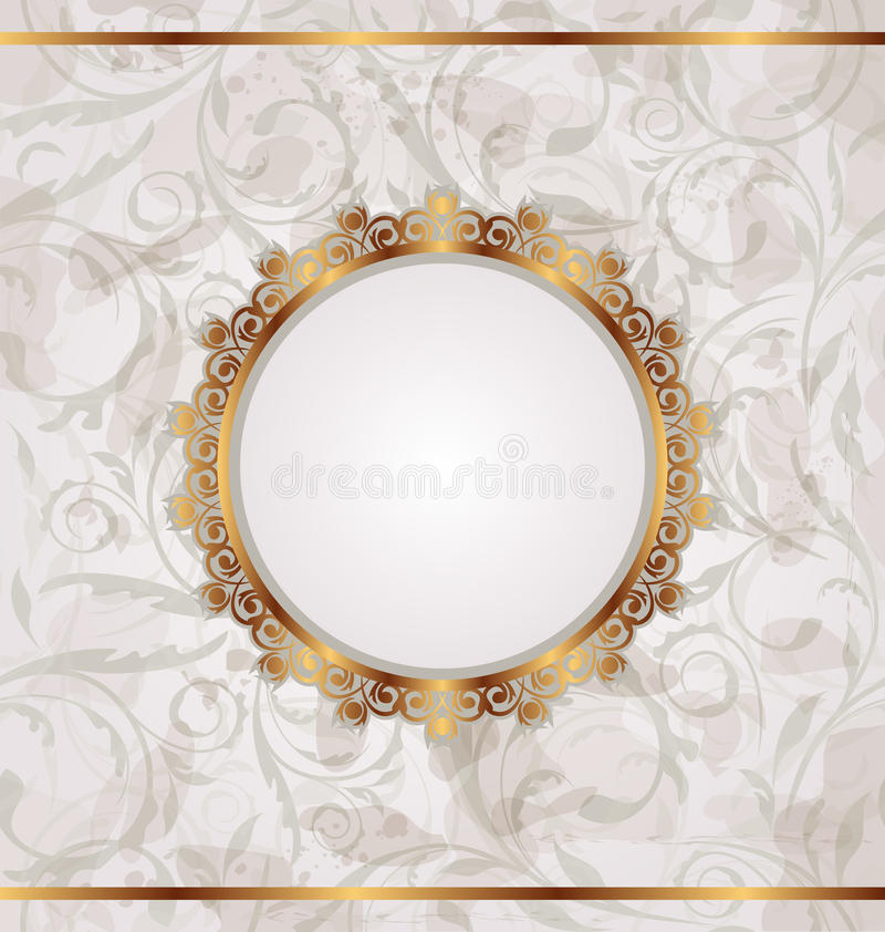 Frame retro dourado, textura floral sem emenda ilustração do vetor