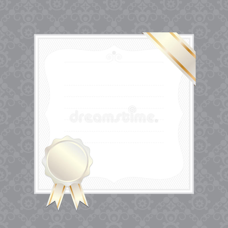 Frame with ribbon and seal. Seamless ornate pattern with blank frame, ribbon and seal ready for text vector illustration