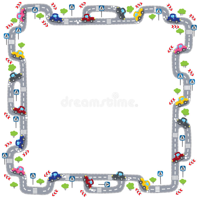 Frame with road stock illustration