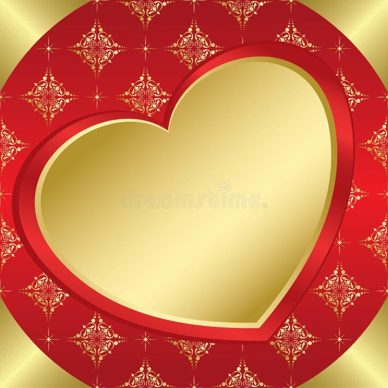 Frame romântico com coração e tracery ilustração do vetor