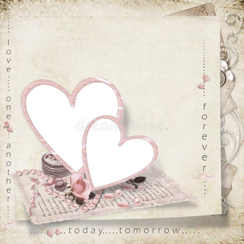 Frame romântico para a foto no fundo do victorian imagem de stock royalty free