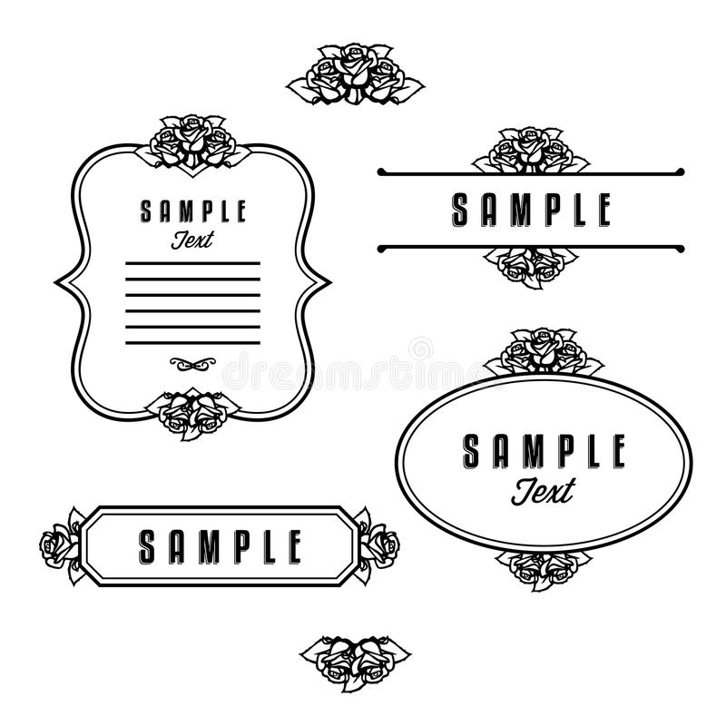 Download Frame with rose stock vector. Image of drawing, plant - 28584017